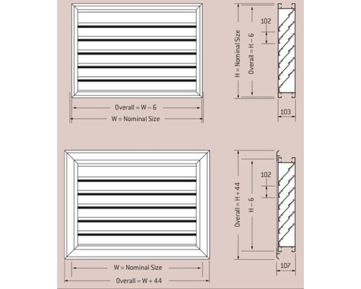 Holyoake Outside Horizontal Louvers (Louvre) - OHL-102
